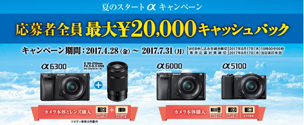 キャッシュバック最大20.000円夏のスタートαキャンペーン!